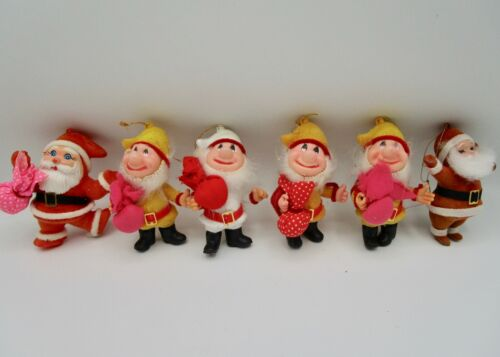 vintage christmas plastic elf dwarf santa claus ornament figures flocked lot 6