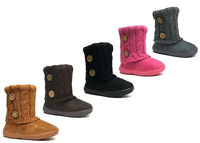 Cute Toddler Girls (New Kids Boots Toddler Girls Cute 2 buttons Faux Fur Suede Knitting)