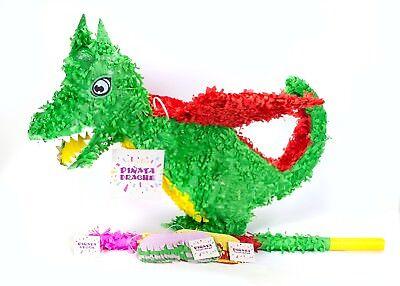 Pinjatta + Stab + Augenmaske, Kinder Geburtstag Spiel (Drachen-pinata)