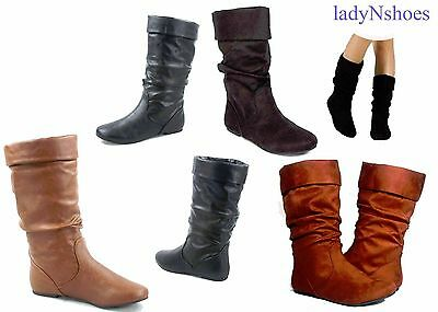 NEW Women's Causal Pull Up Slouchy Mid Calf Flat Boots Shoes Large Size 7 - - Large Calf Women Boots