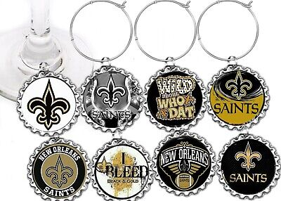 New Orleans Saints Football decor party theme wine charms markers 8 party favors](Football Themed Favors)