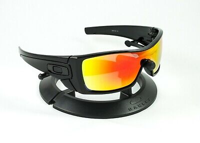 OAKLEY BATWOLF POLISHED BLACK FRAME / REVANT FIRE RED POLARIZED CUSTOM LENSES