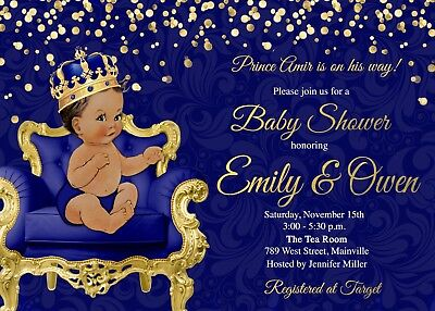 Prince Baby Shower Invitation, Prince, Baby Shower, Boy, Gold, Invitation, Baby (Baby Shower Invites Boy)