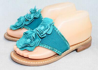 NWT JACK ROGERS Blue Canvas & Suede Double Flower Thong Flip Flop Sandal Wo's 6