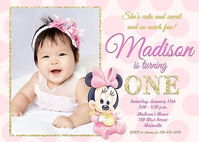 Minnie Mouse, Pink and Gold, Baby, First Birthday, One Year, Party, Invitation (Minnie Mouse First Birthday Invitations)