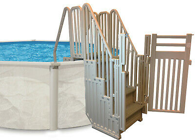 Confer Entry System for Above Ground Swimming Pools - Warm Grey W/Grey Treads