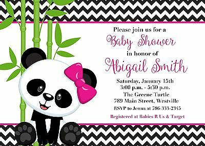 Panda Baby Shower, Girl, Girl Panda, Panda Bear, Baby Shower, Invitation