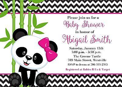Panda Baby Shower, Girl, Girl Panda, Panda Bear, Baby Shower, Invitation - Panda Baby Shower