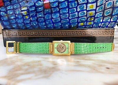 Gianni Versace Signature Medusa Gold Plated G20 Womens Watch From 1996 Green