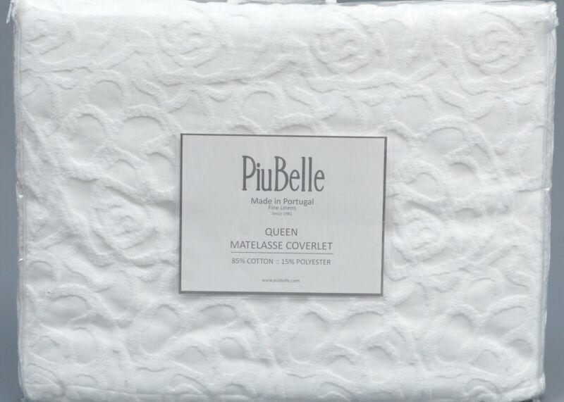 PIUBELLE WHITE 100% Cotton JCAQUARD FLORAL MATELASSE QUEEN S