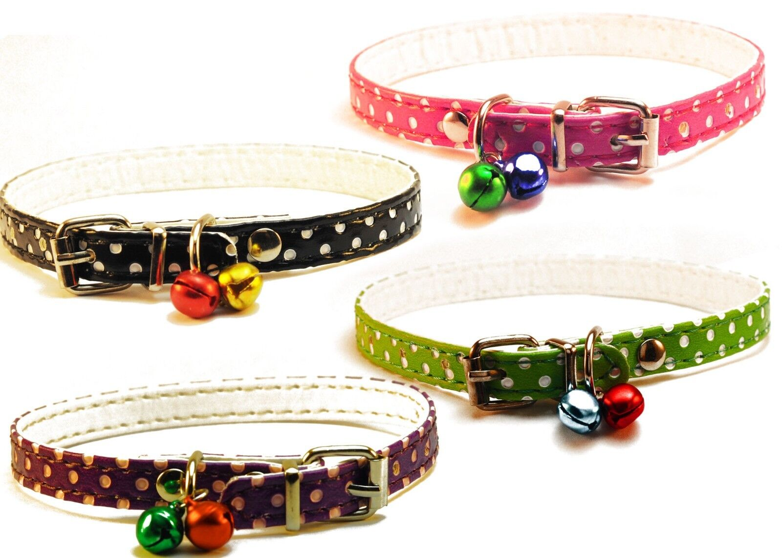 2Pcs Pet Cat small dog Collar Puppy Pu Leather Adjustable Wi