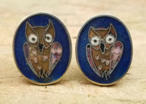 PERLI Germany Sterling & Enamel Owl Cufflinks Vintage Mid Century Cuff Links