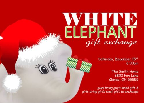 White Elephant Holiday Christmas Party Invitation