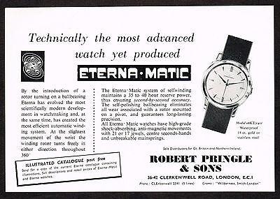 1950's Vintage 1957 Robert Pringle - Eternamatic Eterna Matic Watch Print AD