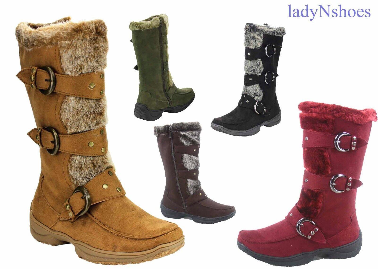 Boots - NEW Women's Winter Low Flat Heel Zipper Buckle Strap Mid-Calf Boots Size 5.5 -10