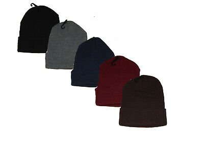 Beanie / Stocking Hat Cap 5 Colors to Choose Acrylic Knit Cuffed Stretch -