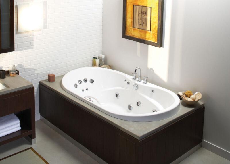 """Maax Living 60"""" X 42"""" Acrylic Oval Drop-in Bathtub Optional Whirlpool"""