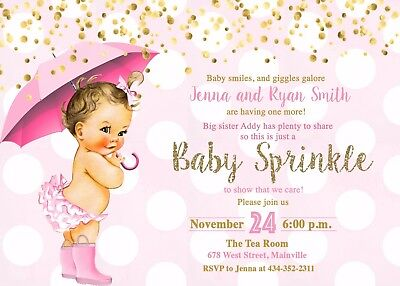 Baby Sprinkle Invitations (Baby Sprinkle Invitation, Girl, Pink, Gold, Baby Shower, Invitation,)