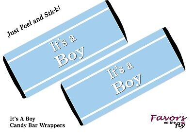 12 It's a Boy Candy Bar Wrappers for Baby Shower Announcement Favors