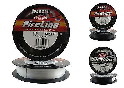 - 125 Yards FIRELINE Beading Thread 4-6-8-10 LB CRYSTAL/SMOKE/BLACK SATIN