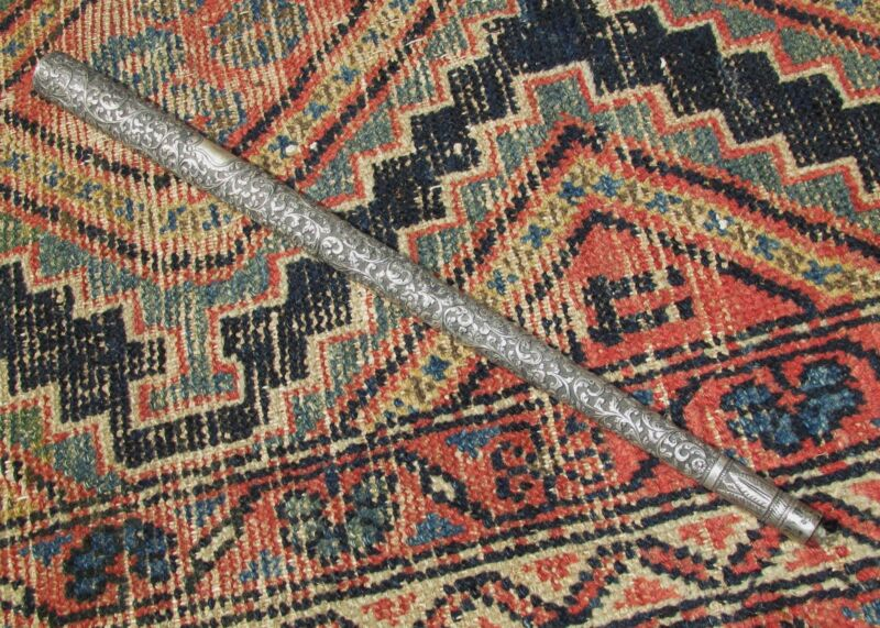 Antique Anglo Indian Silver Parasol or Cane Handle Oriental Asian