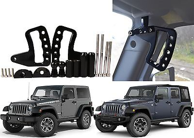 Upgraded Black Front Grab Bar Handles 2007-2017 Jeep Wrangler JK New Free Ship