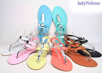 NEW Fashion Color Buckle T-Strap Sling back Flat Sandal Wome