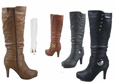 NEW Women's Big Buckle High Heel Zipper Mid Calf Knee High Boots Size 5 - 10 (Buckle Women Heel Boots)
