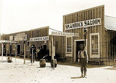 Wild West 1905 Shamrock Saloon PHOTO Nevada Bar Barber Shop Old Tavern Cowboys