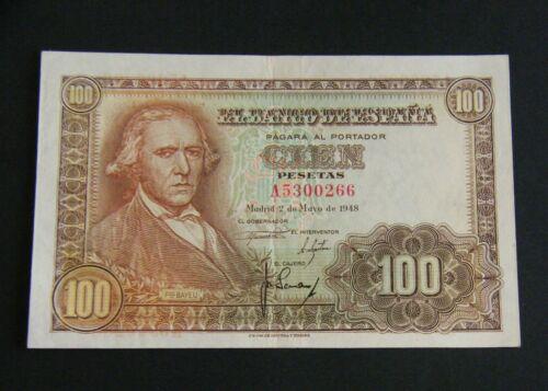 SPAIN. BANKNOTE 100 PESETAS 1948  ¨BAYEU¨  XF+