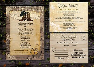 50 Rustic Country Boots Wedding Invitations With Guest & RSVP Response Cards