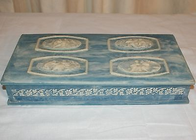 Vintage Large Genuine Incolay Stone Blue Jewelry Box