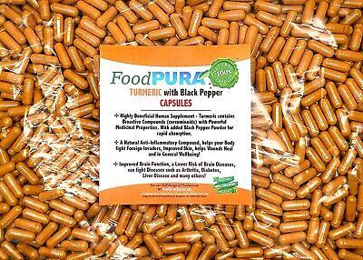 60 X Turmeric and Black Pepper Capsules 1700mg Curcumin Vegan HIGH STRENGTH