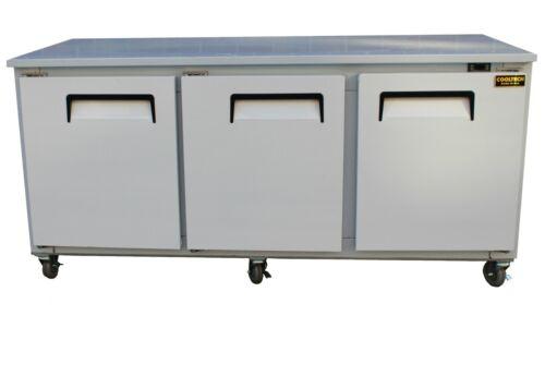 """Cooltech 3-Door Worktop Refrigerator Low Boy Cooler 72"""""""