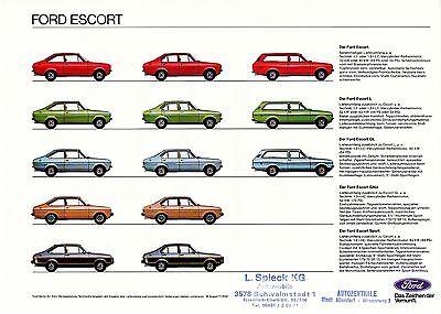 Ford Escort Prospekt 16.8.77 brochure 1977 Auto PKWs Deutschland Autoprospekt