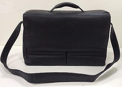 New KORCHMAR Leather Black KF1113 Magnetite Flap Over Briefcase $375 Leather Flap Over Briefcase