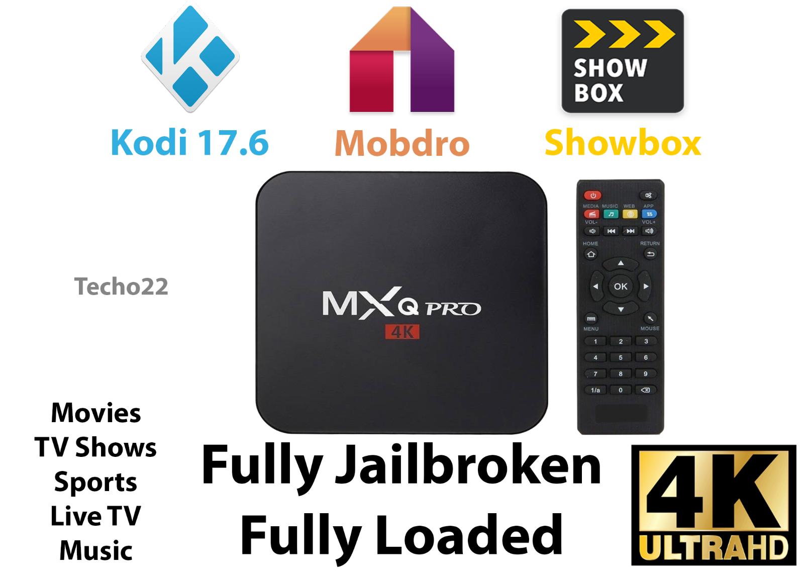 MXQ Pro 4K Ultra HD 3D 64Bit Wifi Android 7.1 Quad Core Smart TV Box + KODI 17.6