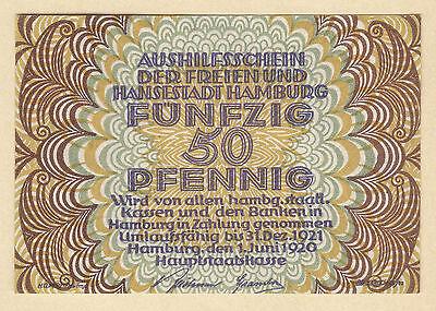 Hamburg -Hauptstaatskasse- 50 Pf. vom 1.06.1920 OHNE KNr.