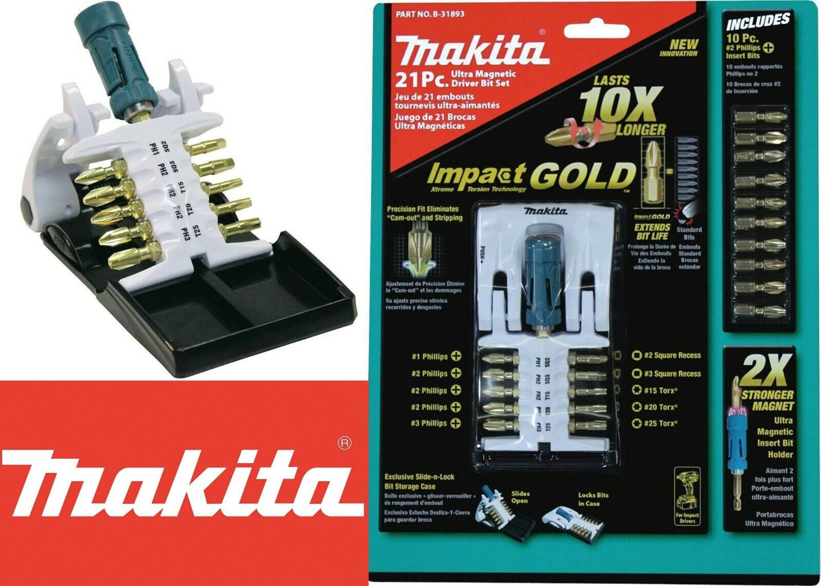 Makita B-31893 Ultra Magnetic Driver Bit Set, 21-Piece