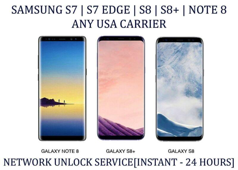 Instant Tmobile/Sprint/ATT SAMSUNG GALAXY S7 S8 S8+ Note 8 Unlock Remote Service