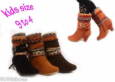 Girl's Kid's Cute Sweater Top Tribal Print Low Heel Zipper Boot Shoes 9 - 4 NEW