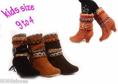 Girl's Kid's Cute Sweater Top Tribal Print Low Heel Zipper Boot Shoes 9 - 4 NEW