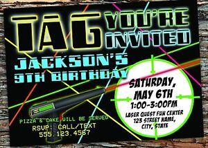 Laser Tag Birthday Party Invitation Digital File Free Shipping