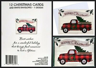 12 Christmas Cards and Envelopes (New Boxed) Red Truck with Xmas Tree