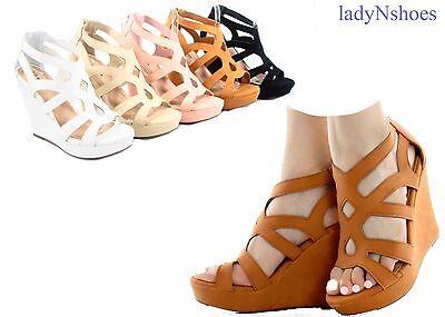 Platform Shoes Zipper (NEW Women's Summer Cut Out Zipper Strap Wedge Platform Sandal Shoes Size 6 -)