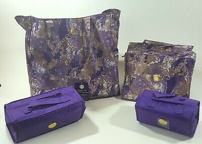 Joy Mangano Bigger Better Beauty Case Set w/ Shopper Tote Roll Up Travel