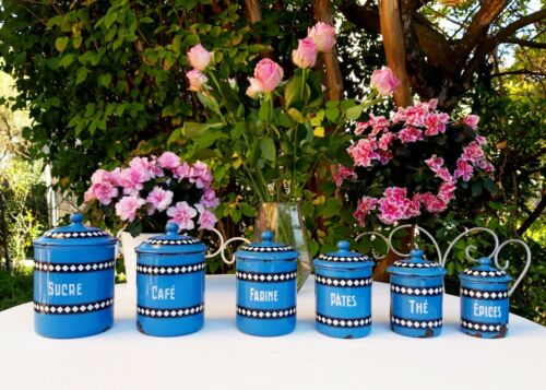 6 antique enameled french canisters Duco BGB blue and white checks Art Deco 1930