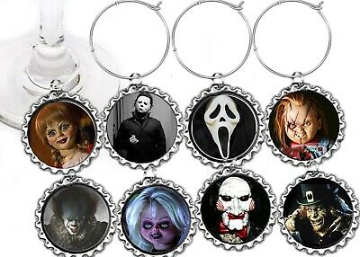 Scary horror Movies halloween  party theme wine charms markers 8 party - Scary Halloween Themes