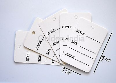1000 White Merchandise Price Jewelry Garment Store Paper Tags 1 78x1 14