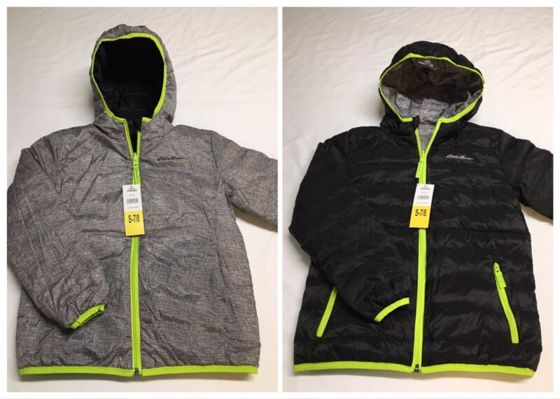 NEW Eddie Bauer Black Gray Down Insulated Reversible Puffer Jacket Boys Small